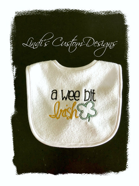 A Wee Bit Irish Embroidered Baby Bib