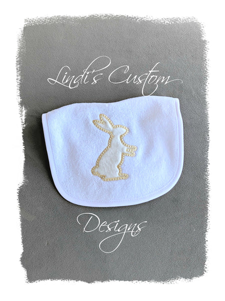 Neutral Bunny Embroidered Bib