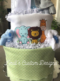 Boy Jungle Safari Diaper Cake Gift Set