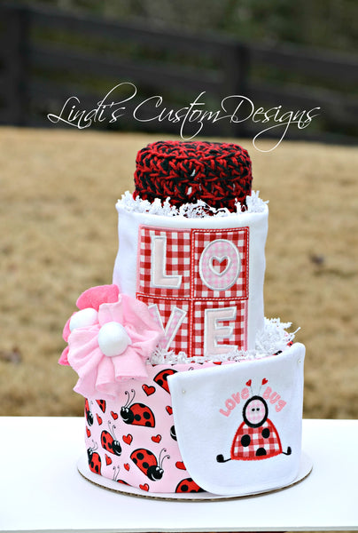 Lady Love Bug Girl Diaper Cake Gift Centerpiece