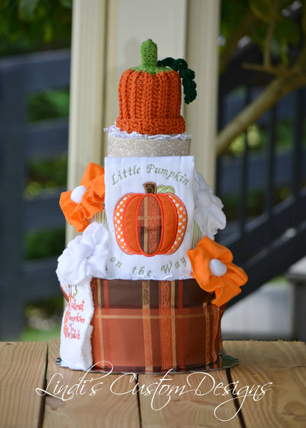 Fall Pumpkin Diaper Cake Centerpiece Gift