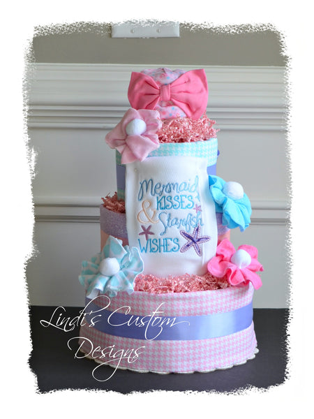 Mermaid Girl Under the Sea Diaper Cake Gift Centerpiece