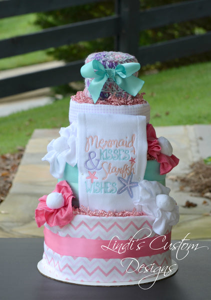 Mermaid Kisses Starfish Wishes Diaper Cake Gift Centerpiece