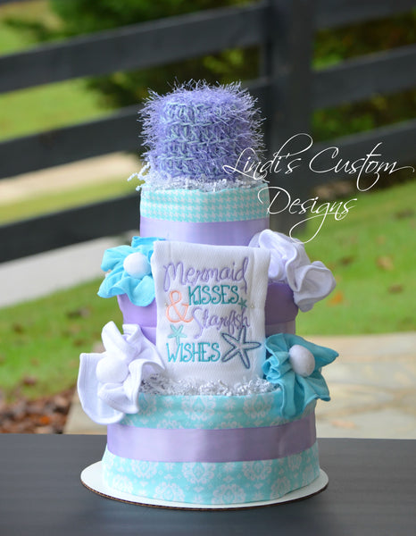 Mermaid Diaper Cake Lavender Light Teal