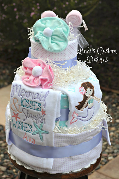 Girl Mermaid Deluxe Diaper Cake Baby Shower Table Centerpiece