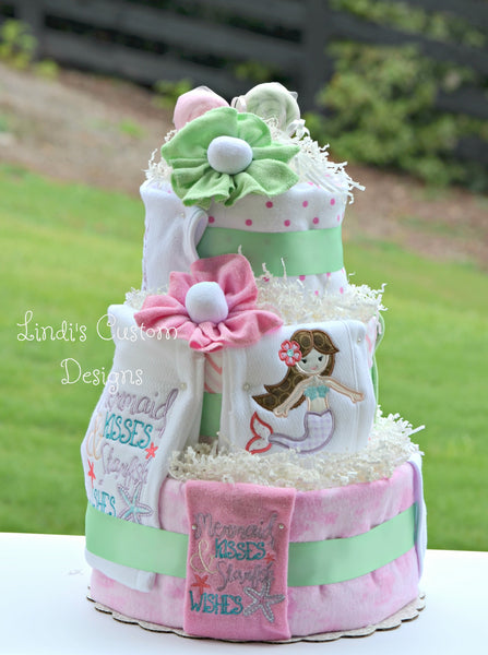 Mermaid Deluxe Pink and Mint Diaper Cake