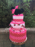 Girl Mouse Diaper Cake with Crochet Ears Beanie
