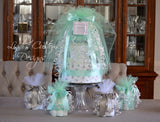 Mint Green Gray Elephant Baby Shower Diaper Cake Centerpiece Set