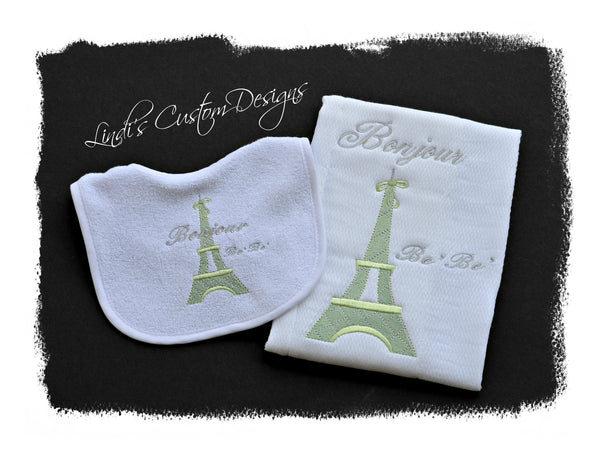 Eiffel Tower Gender Neutral Bib and Burp Set