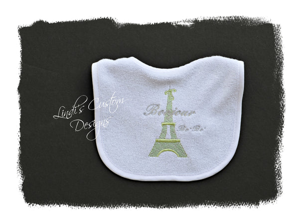 Neutral Baby Bib, Eiffel Tower Theme