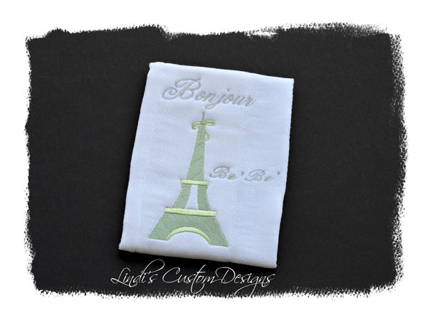 Neutral Burp Cloth, Eiffel Tower Theme