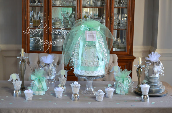 Baby Shower Table Centerpiece Set in Mint and Gray Elephant