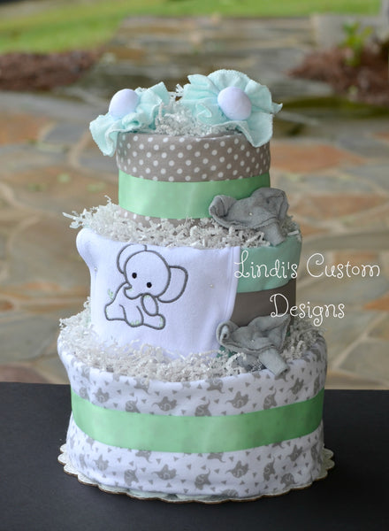 Mint Green Gray Elephant Diaper Cake, Gender Neutral