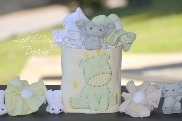 Neutral Baby Shower Table Decor Gift Set Yellow Mint