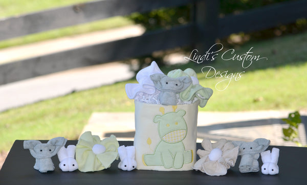 Neutral Baby Shower Table Decor Gift Set, Yellow Mint Green Baby Animals
