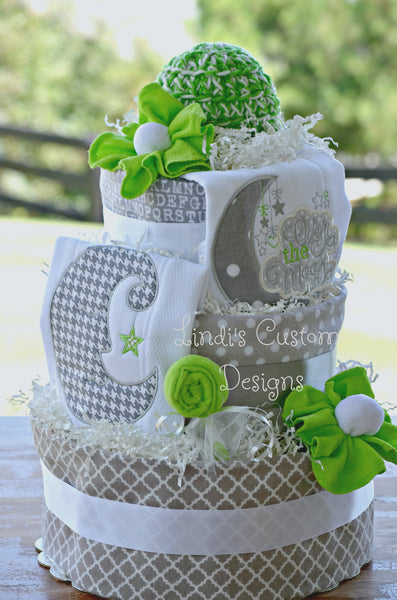 Moon Nursery Rhyme Gender Neutral Diaper Cake