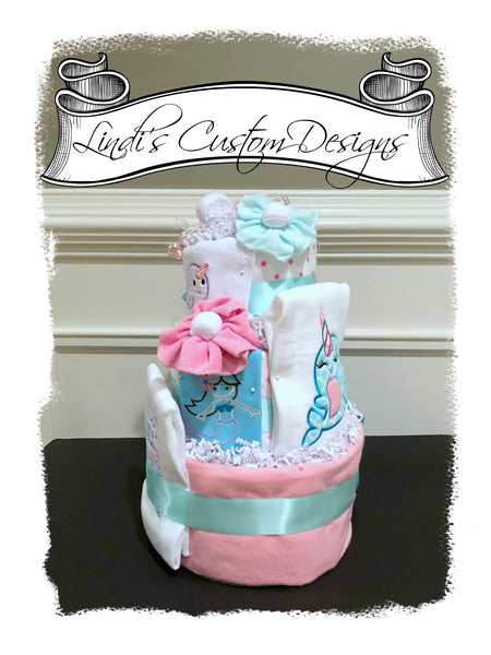 Narwhal Mermaid Under the Sea Diaper Cake