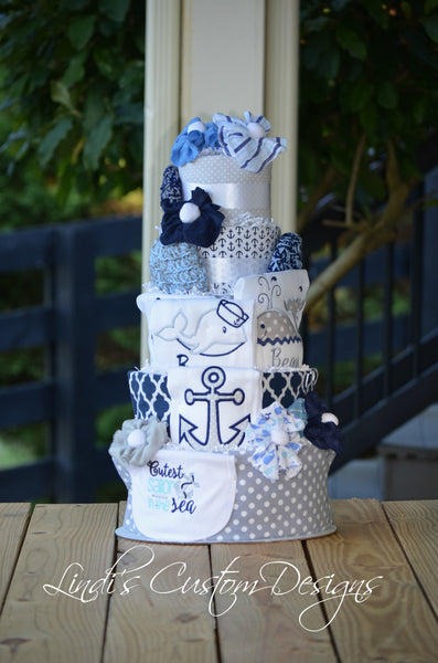 Embroidered Nautical Diaper Cake Table Centerpiece