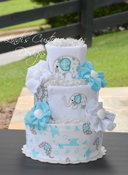 Neutral Aqua Gray Elephant Diaper Cake