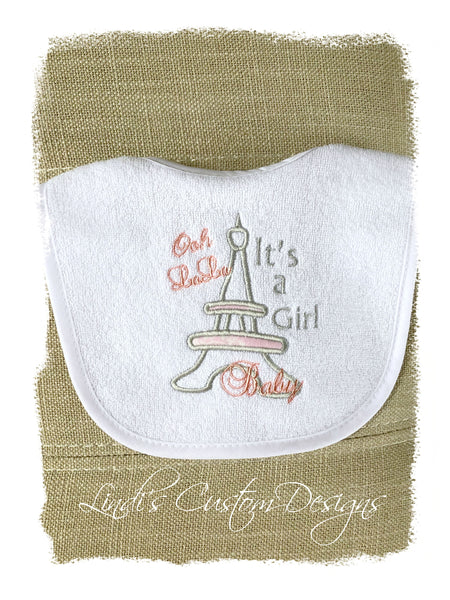 Embroidered Bib Paris Theme