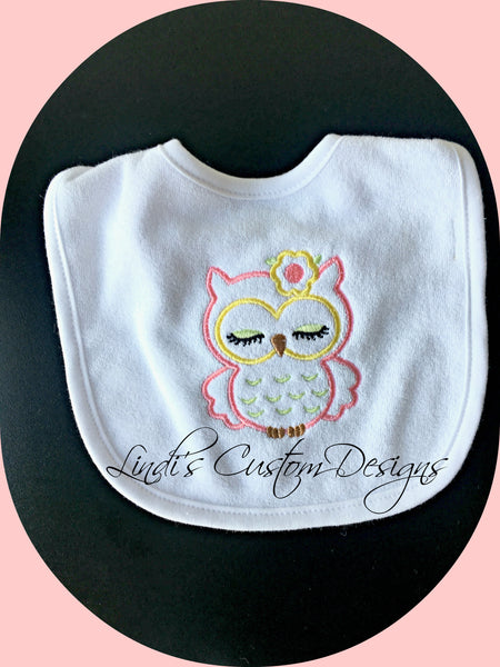 Girl Owl Embroidered Baby Bib