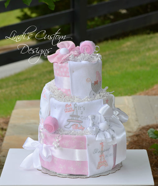 Girl Diaper Cake Paris Theme