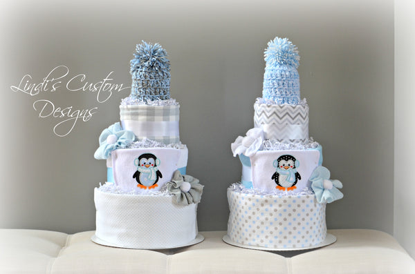 Twin Boy Penguin Diaper Cake Set