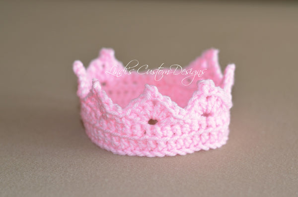 Newborn Crochet Pink Baby Girl Crown