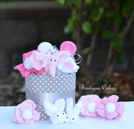 Pink Gray Elephant Mini Diaper Cake