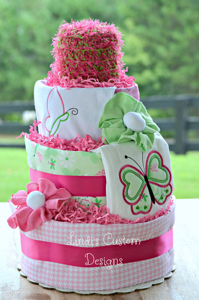 Butterfly Girl Embroidered Pink and Green Diaper Cake