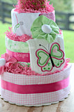 Butterfly Embroidered Diaper Cake Gift Centerpiece