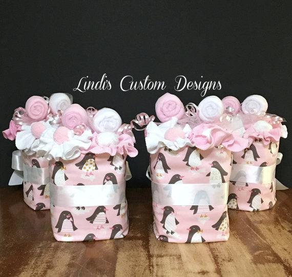 Girl Penguin Mini Diaper Cake Shower Centerpieces