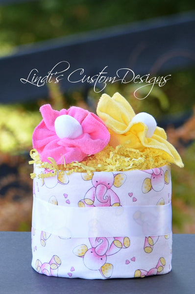 Elephant Burp Cloth Mini Diaper Cupcake