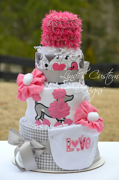 French Poodle Diaper Cake