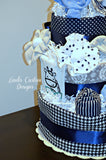 Safari Navy Blue Gray Diaper Cake