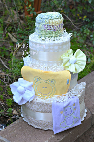 Shabby Frog Diaper Cake Gift or Table Centerpiece