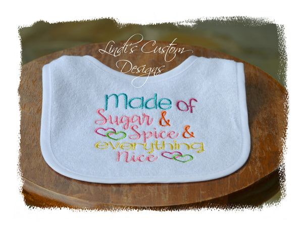 Girl Embroidered Bib Sugar N Spice