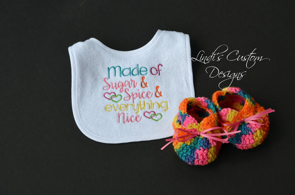 Baby Girl Bib Baby Shoes Gift Set Funfetti
