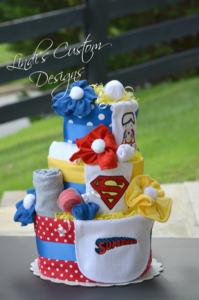 Superman Inspired Diaper Cake