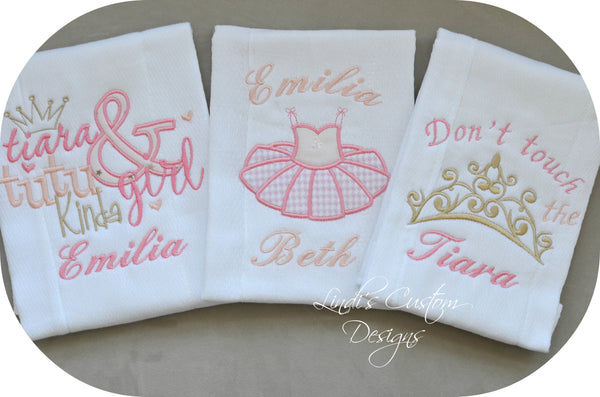 Tutus and Tiaras Burp Cloth Set