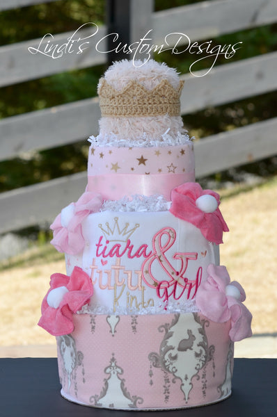 Embroidered Tutu Tiara Diaper Cake