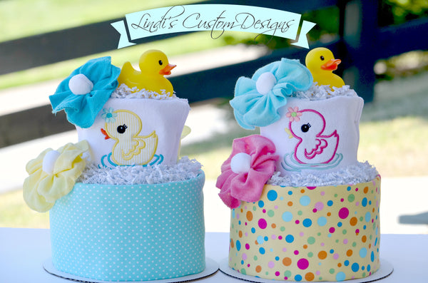 Twin Ducky Diaper Cakes or Gender Reveal Baby Gift