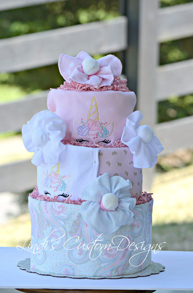 Unicorn Embroidered Diaper Cake Gift Centerpiece