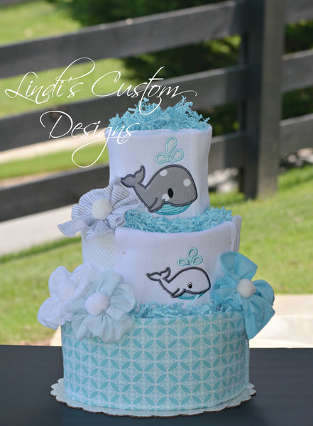 Whale Embroidered Diaper Cake