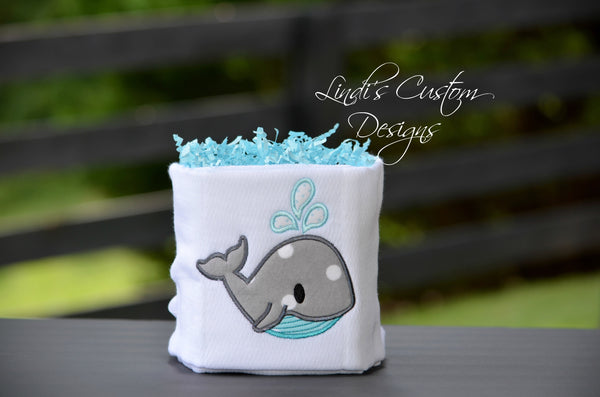Whale Burp Cloth Mini Diaper Cake