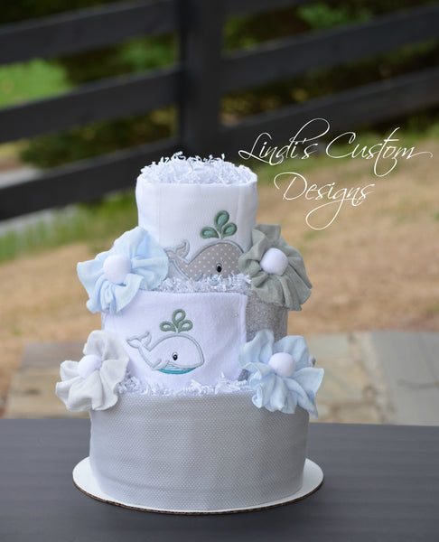 Neutral Baby Shower Table Centerpiece Gray Whale Diaper Cake