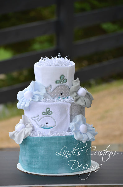 Embroidered Teal Grey Whale Diaper Cake Gift Centerpiece