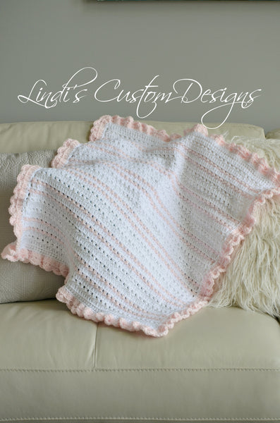 Girl Crochet Blanket White Pale Pink