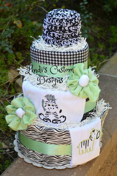 Neutral Zebra Safari Diaper Cake Gift