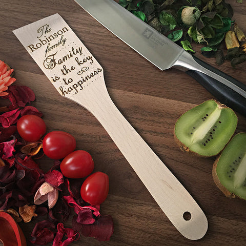 Family Is The Key To Happiness - Custom Engraved Wooden Spatula